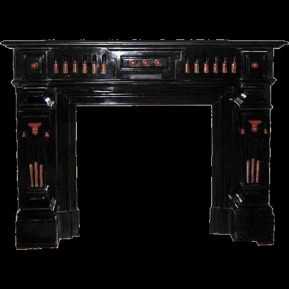 French Napoleon III Belgian Slate and Marble Fireplace Surround