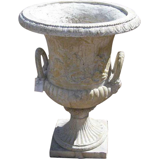 Vintage Pair of Large French Composition Stone Garden Urns from