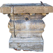 Large Rare French Village Limestone Covered Well Head