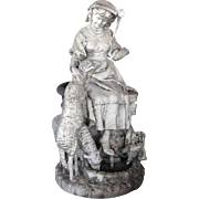 Signed French Marble Sculpture of a Maiden with Lambs