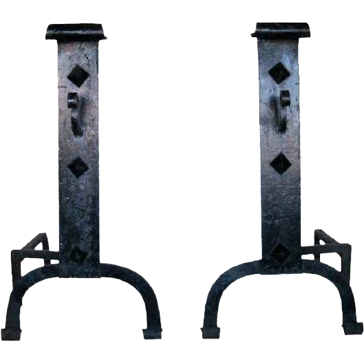 Pair of Large American Arts and Crafts Wrought Iron Fireplace Andirons