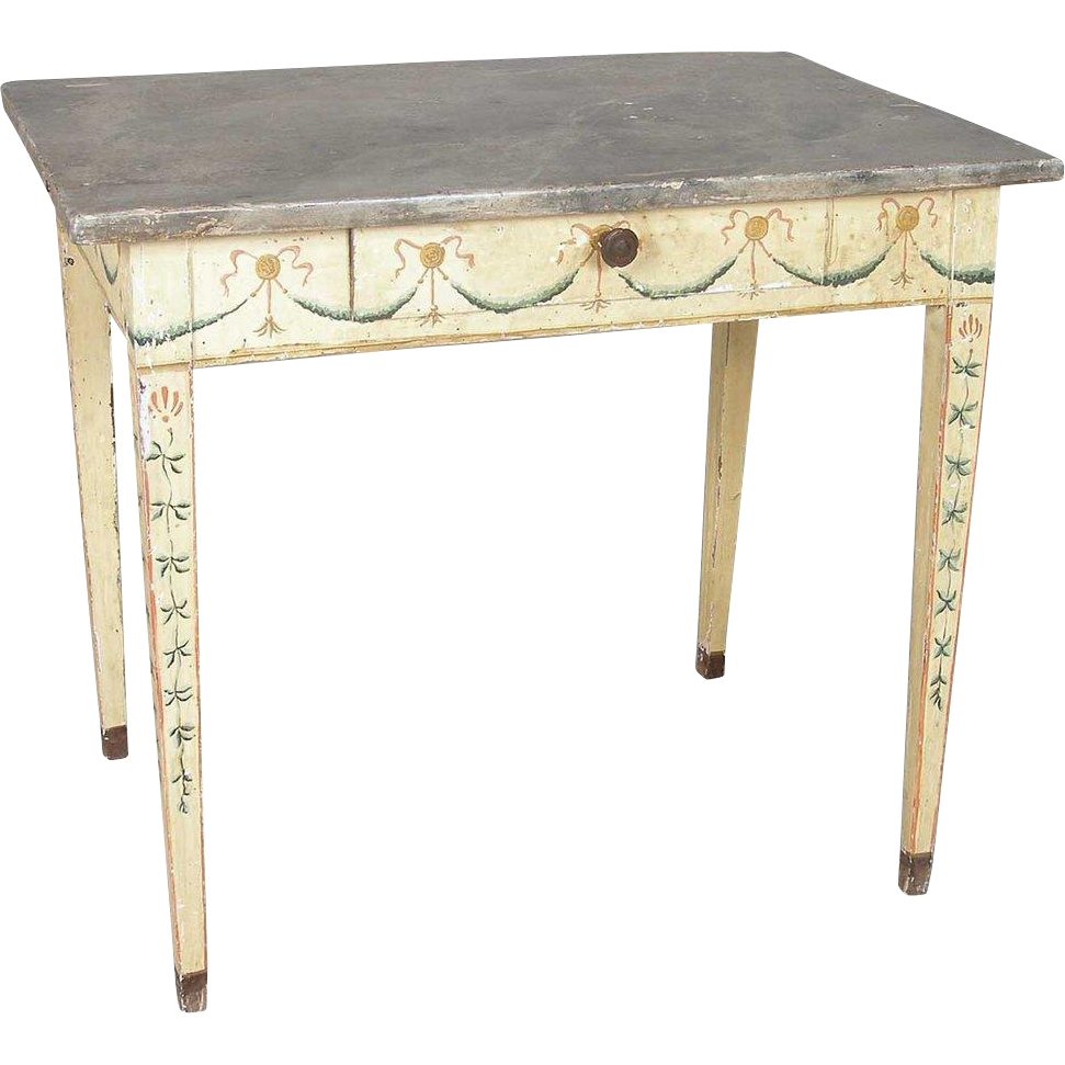 French Provincial Louis XVI Style Painted Side Table