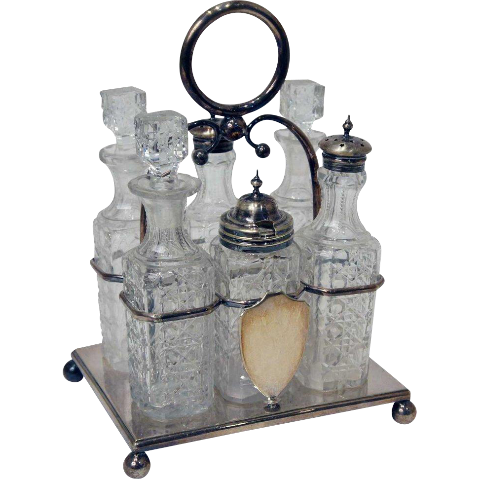 English Victorian Silver-Plated and Cut Glass Six-Bottle Cruet Stand