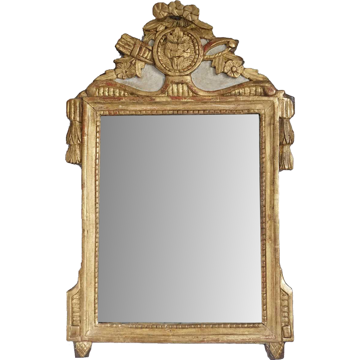 French Provincial Louis XVI Style Gilt and Cream Painted Mirror