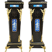 Pair of French Napoleon III Tile, Ormolu and Ebonized Pearwood Pedestals