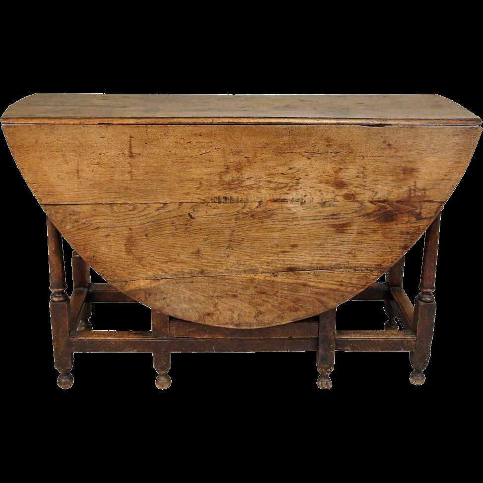 English George III Period Oak Gate-Leg Drop-Leaf Table