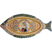 Large French Henriot-Quimper Faience Pottery Fish Platter