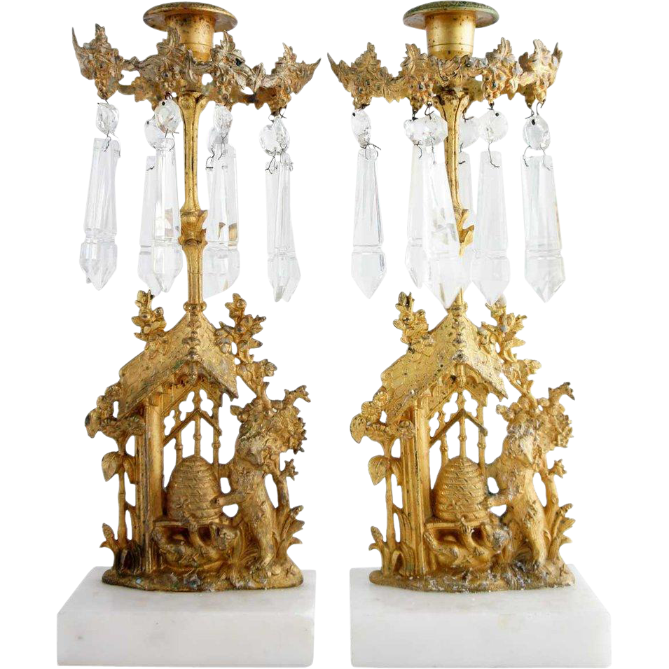 Pair of American Rococo Revival Gilt Brass and Crystal One-Light Garniture Candlesticks Bear Beehive