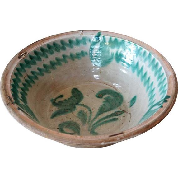 Large Spanish 19th Century Tin Glazed Stoneware Pottery Bowl (Lebrillo)