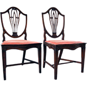 Pair of Neoclassical Mahogany Shield-Back Dining Side Chairs