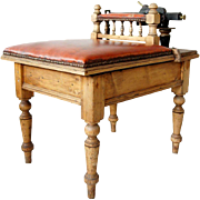 English Pine and Leather Jockey Scale Stool