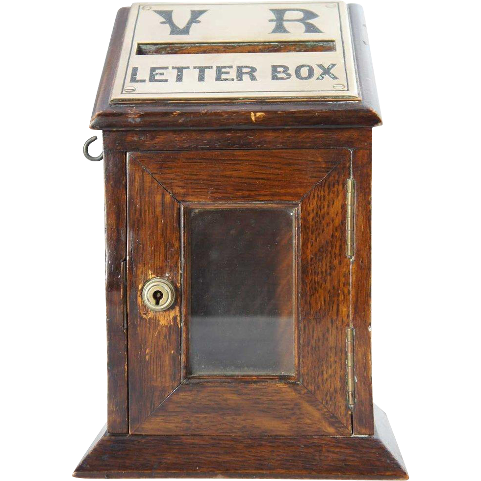 Small English Victorian Oak Desk-Top Country House Postal Letter Box