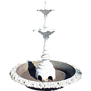 American J.W. Fiske Victorian Painted Cast Iron Two-Tier Garden Fountain and Pan