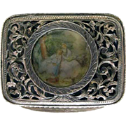 Small Continental Filigree Silver Box with Painted Plaque