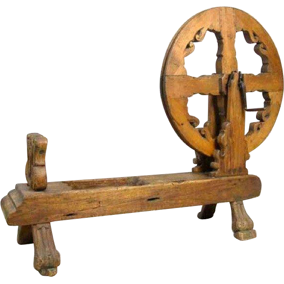 Mexican Colonial Pine Spinning Wheel