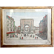 18th century French Hand Colored Copperplate Engraving Vue d'Optique of Porte Saint-Denis