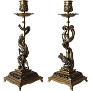 Pair of Fine French F. Barbedienne Bronze Dragon Candlesticks