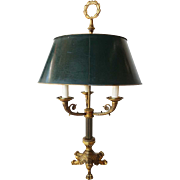Vintage Empire Style Gilt Bronze Tole Shade Three-Light Bouillotte Table Lamp