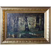 RALPH DAVISON MILLER Oil on Canvas Painting, Denver Forest Landscape