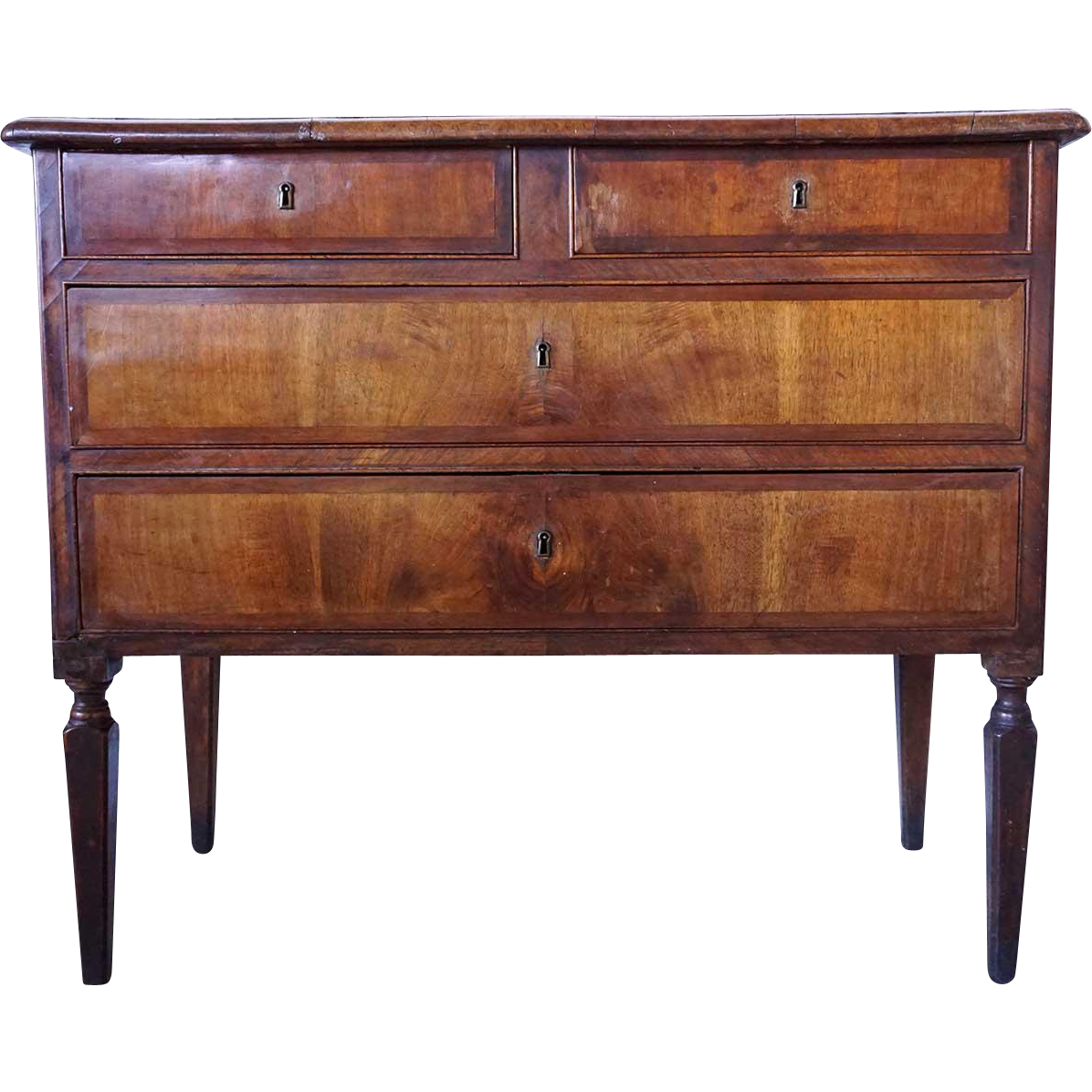 Italian Chestnut Crossbanded Marquetry Veneer Chest of Drawers