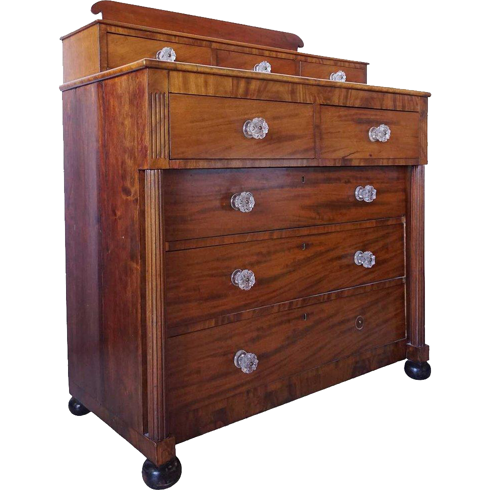 American Empire Flame Mahogany Chest of Drawers