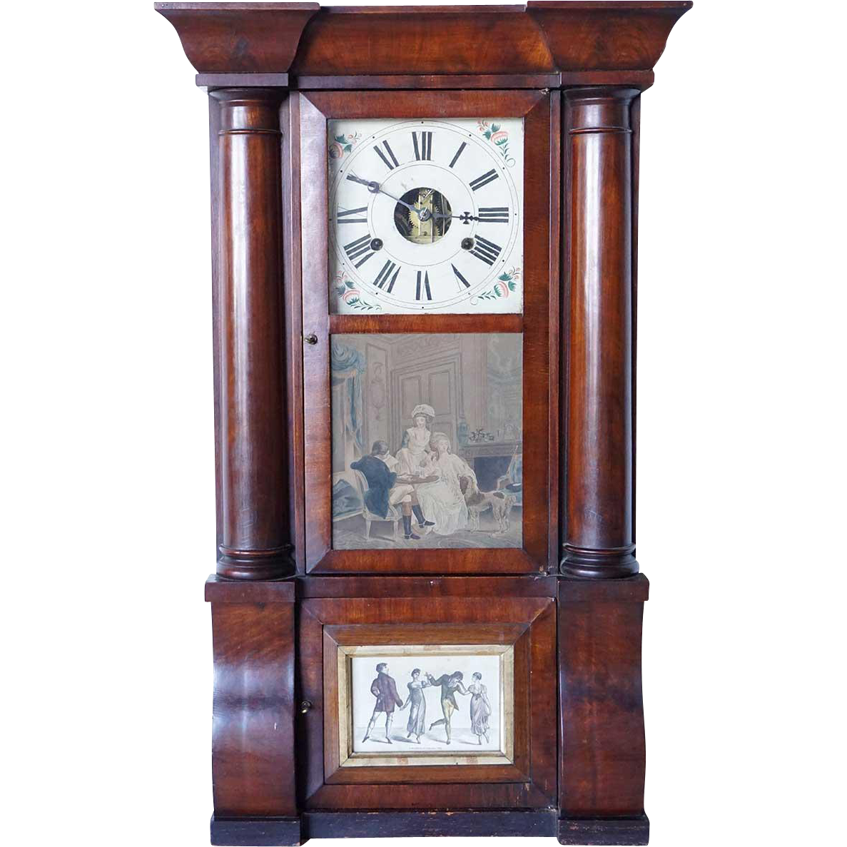 American John Birge & Co. Mahogany Column and Cornice Shelf Clock