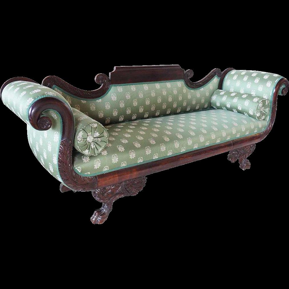 American Empire Mahogany Upholstered Sofa