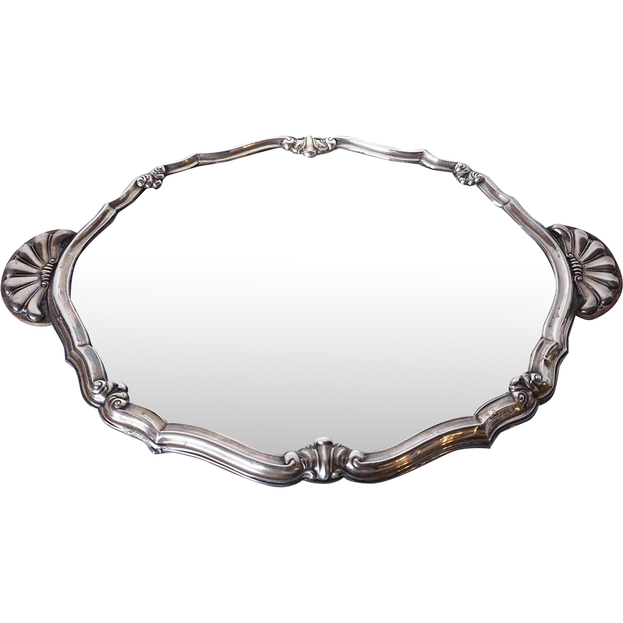 Italian .800 Silver Repousse Mirrored Oval Plateau