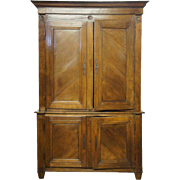Large French Directoire Elm Step-back Cabinet