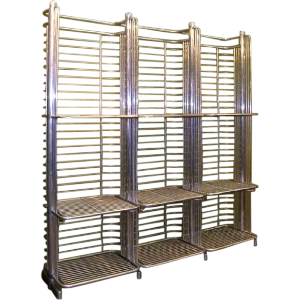 Large French Mid-Century Industrial Aluminum Baker's Rack