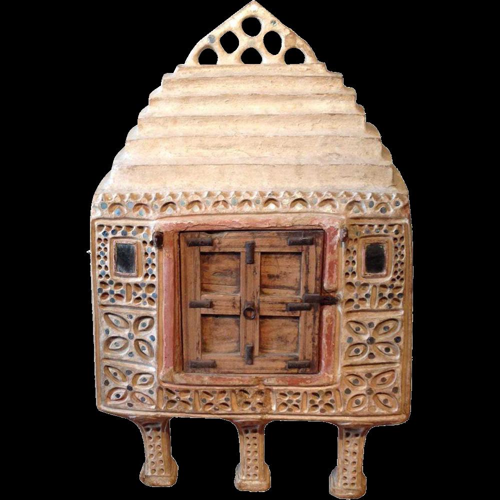 Indian Kutchi Mirrored Mudwork (Lippan Kam) Food Storage Cabinet