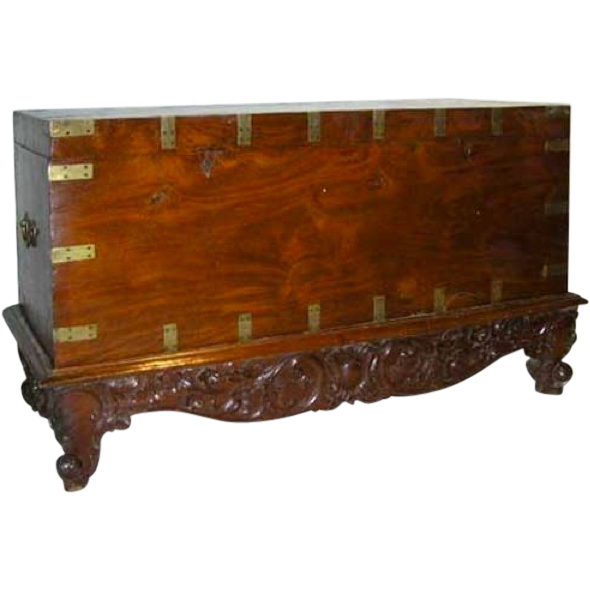 Anglo Indian Solid Mahogany Blanket Chest on Stand