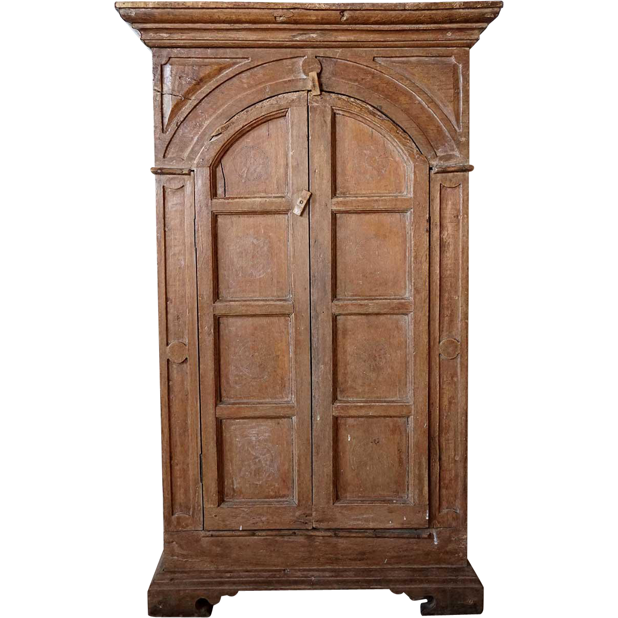 Portuguese Painted Teak Hanging Cupboard