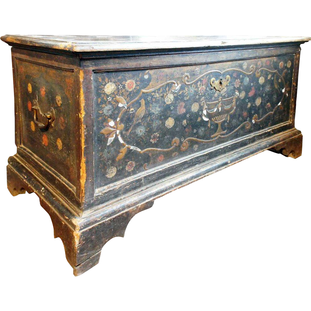 English Queen Anne Painted Walnut and Oak Blanket Chest