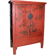 Large Chinese Red Lacquer Cabinet