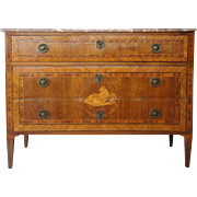 North Italian Marble and Crossbanded Marquetry Chest of Drawers