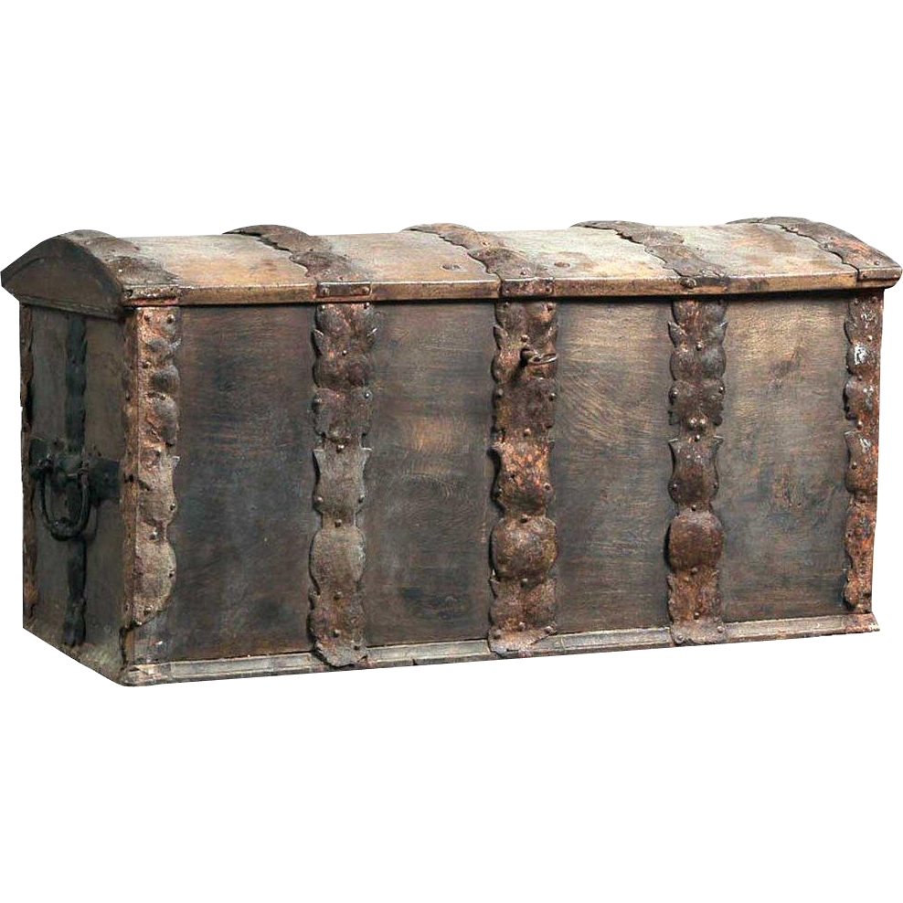 Danish Baroque Iron Mounted Oak Dome Top Trunk