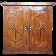 Continental Mahogany Parquetry Two-Door Hanging Cupboard