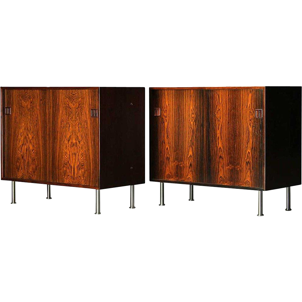 Pair of Vintage Danish Rosewood and Brushed Steel Side Cabinets