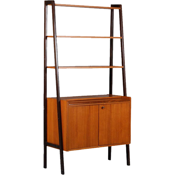 Scandinavian Modern Ebonized and Teak Open Bookcase / Bar Cabinet