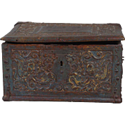 Small Swedish Iron Mounted Carved and Painted Oak Desk Box