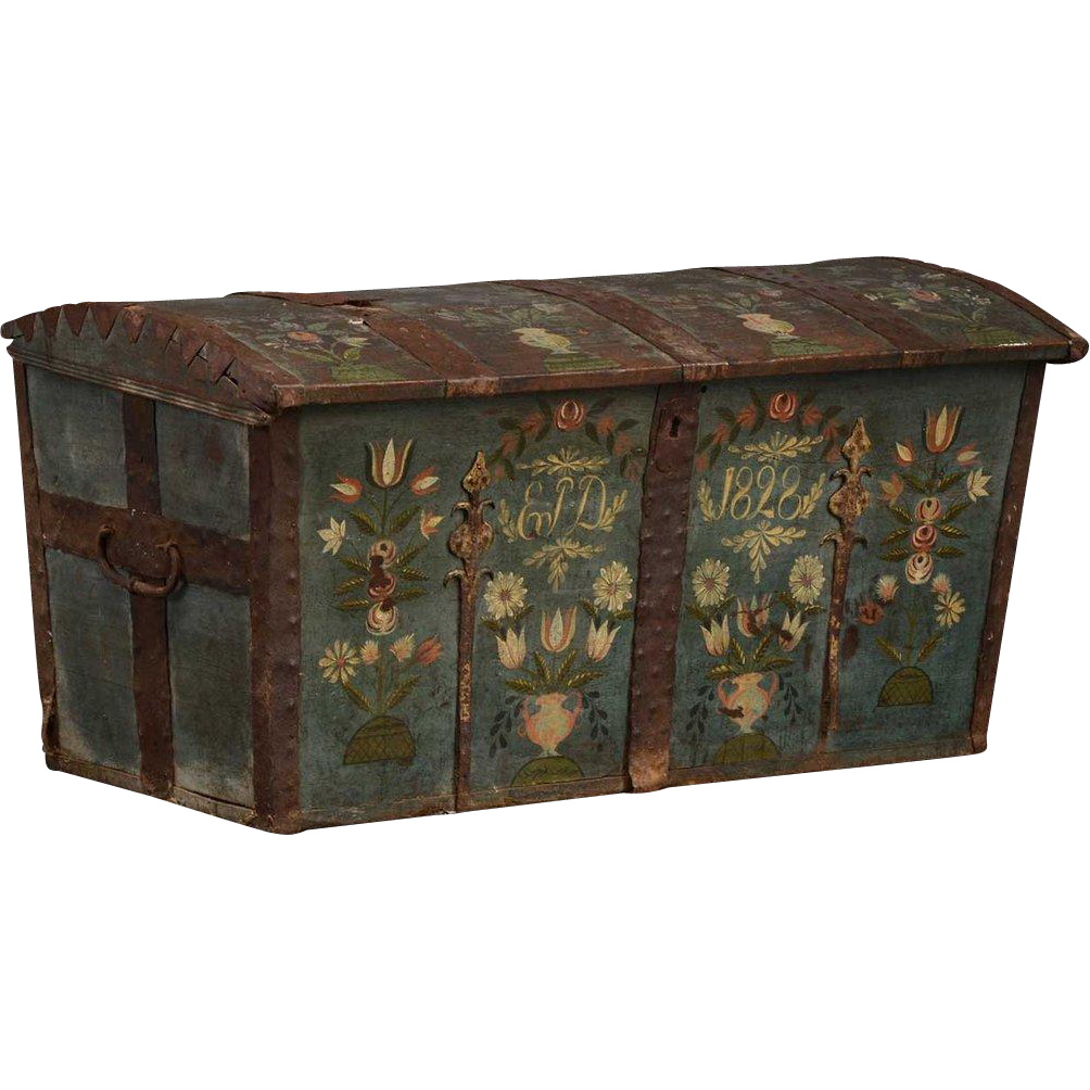 Swedish Painted Iron and Oak Domed Trunk