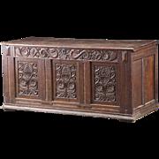 English Baroque Oak Coffer Chest