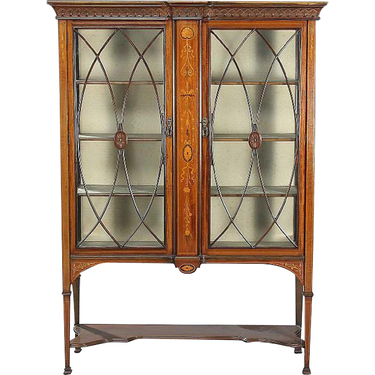 English Edwardian Adam Style Glazed Door Display Cabinet