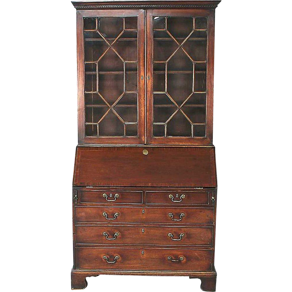 English Chippendale Style Mahogany Bureau Bookcase