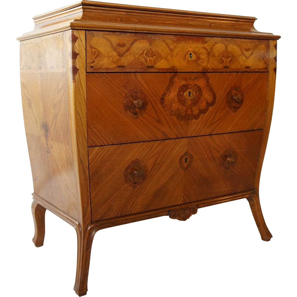 Danish Marquetry Elm Veneer Lift-Top Commode