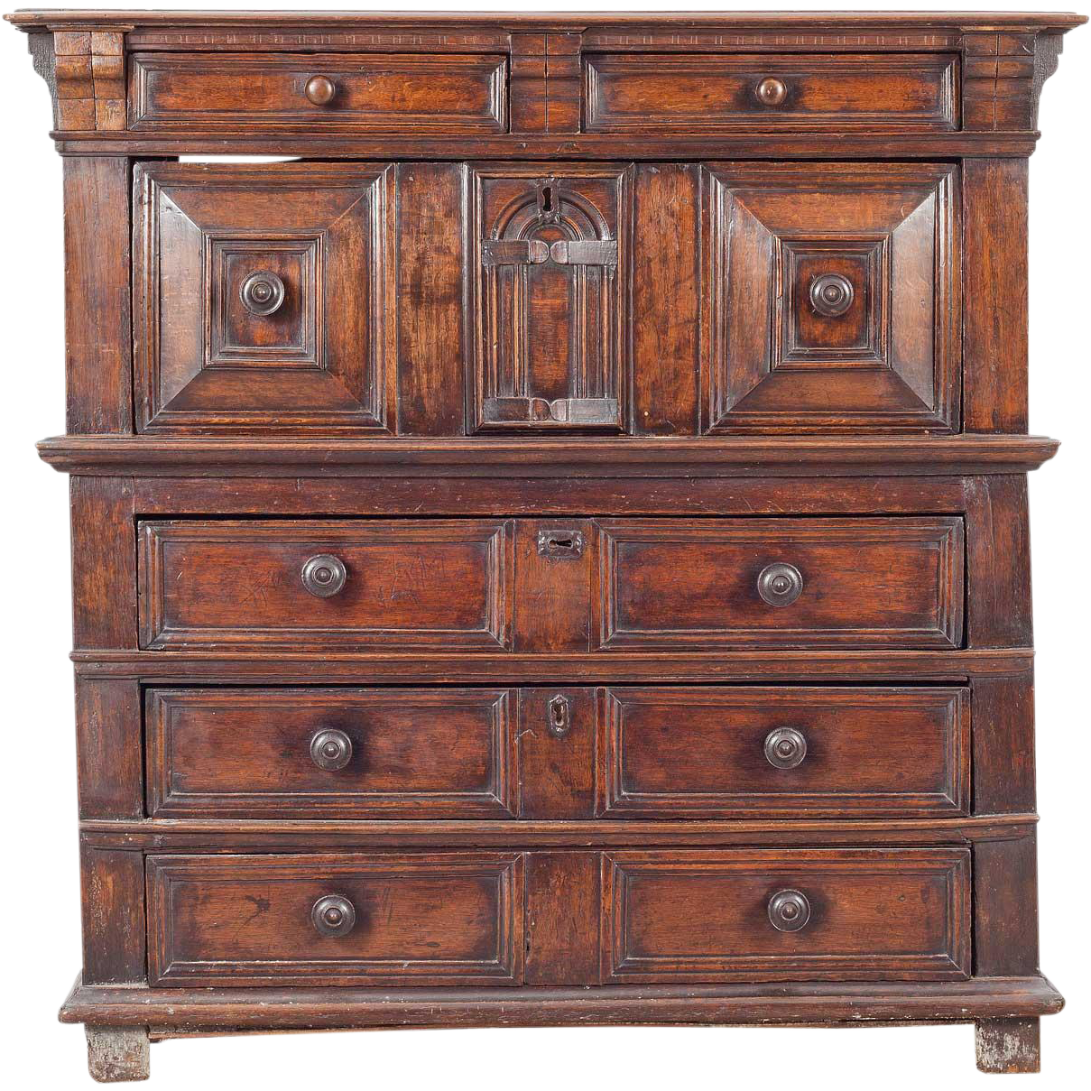 English Baroque Two-Part Oak Panelled Chest of Drawers