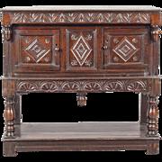 English Baroque Oak Court Cupboard