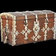 Swedish Baroque Iron Mounted Domed Oak Trunk