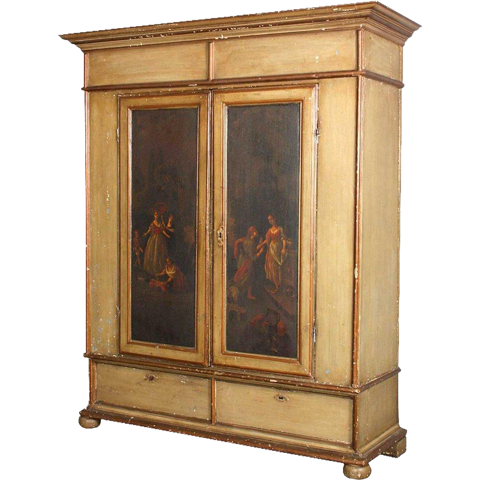 Danish Baroque Style Painted Pine Linen Press